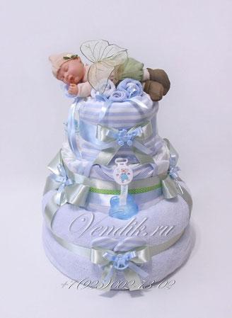 """Торт из памперсов для мальчика """" Лесной малыш"""" VIP (из коллекции """"Сладкий сон"""")"""