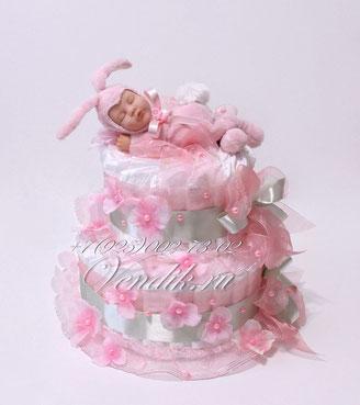 """Торт из памперсов для девочки """" Маленький Зайчонок""""  (из коллекции """"Розовый сон"""")"""