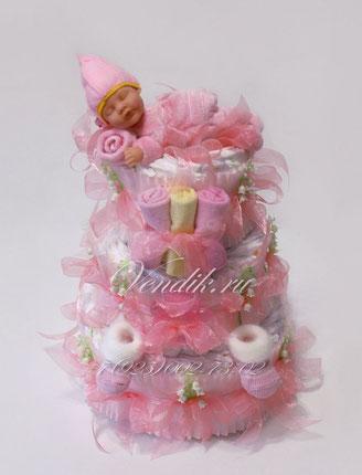 """Торт из памперсов для девочки """"Розовое утро""""  (из коллекции """"Сладкий сон"""")"""
