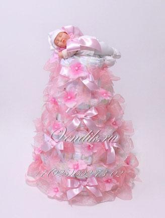 """Торт из памперсов """"New Baby"""" (из коллекции """"Розовые сны"""")"""
