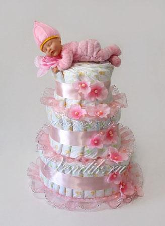 """Торт из памперсов для девочки """" Розовое утро""""  (из коллекции """"Цветочный сон"""")"""