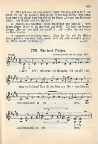 Notenblatt mit dem Lied Nr. 728 Die drei Dörfer