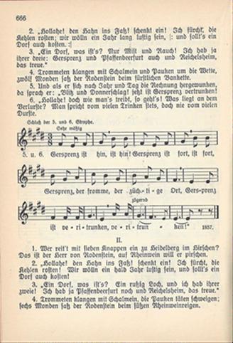 Notenblatt 2. Seite des Liedes Nr.728 Die drei Dörfer
