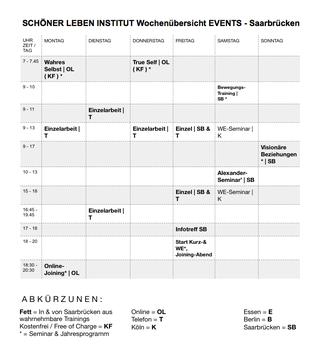 Über die regelmäßigen Veranstaltungen in Saarbrücken hinaus gibt es die Möglichkeit der Intensivierung des Lernprozesses durch regelmäßige Teilnahme an den teilweise kostenfreien Online-Veranstaltungen sowie den lebensverändernden Telefon-Coachings