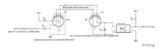 Midii Schematics, Optocoupler, DIN, Connect Midi, Connectique MIDI, Principe Midi