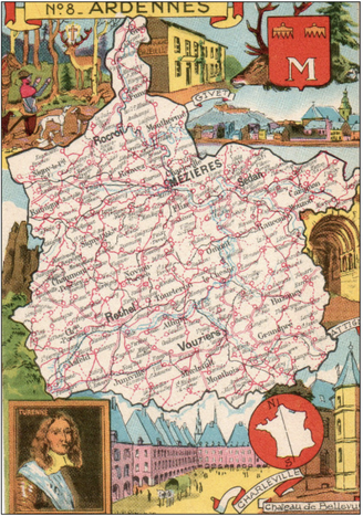 Recto d'une carte postale timbrée envoyée depuis les Ardennes