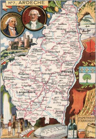 Recto d'une carte postale timbrée envoyée depuis l'Ardèche