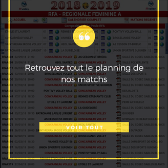 PLANNING DES MATCHS DE CONCARNEAU VOLLEY