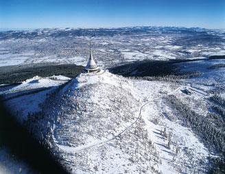 Berg Ještěd im Winter