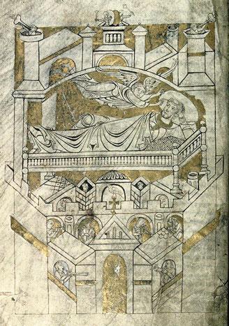 Mt-St.Michel 12. Jh. | Cartulaire du Mont-Saint-Michel | Vision de Saint Aubert | Bibliothèque municipale d'Avranches, Ms 210