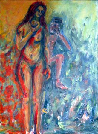 Adam und Eva. Eva hält den Apfel in sieht dem Betrachter des Bildes entgegen, als ob sie fragt, möchtest Du auch mal beißen? Adam indes hält eine Hand vor Augen, als ob er sich für Evas Tun schämt und mit der Angelegenheit nichts zu tun haben möchte.