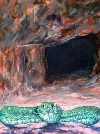 Schlange vor dem Eingang eines Grabes