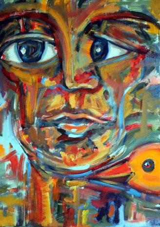 expressives Gemälde eines Gesichts, dessen Augen in zwei verschiedenen Richtungen weisen. Ein Vogelkopf ragt von rechts unten in das Bild hinein.