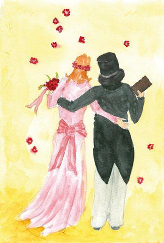 Grußkarte Brautpaar Hochzeit