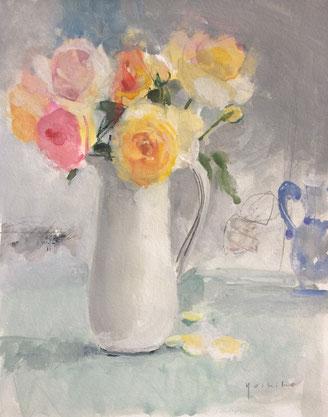 庭のバラ  6号 水彩