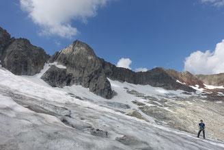 Hiendertelltihorn Ostgrat, Abstieg, Südgrat, Couloir, Gletscher Gröebengletscher, Gruebeseewli
