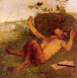 Faun einer Amsel zupfeifend, Arnold Böcklin