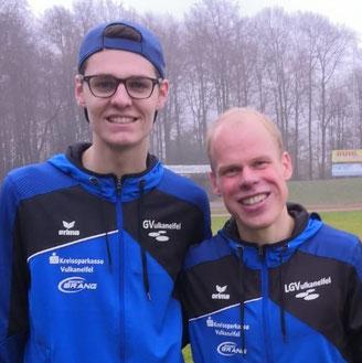 Finn Küpper und Daniel Schmidt beim Silvesterlauf in Remscheid