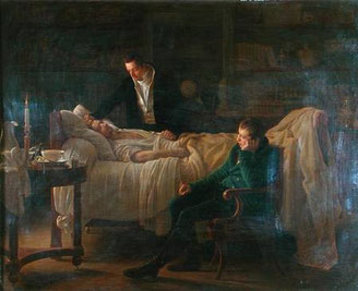 Louis Hersent - Marie Francois Xavier Bichat (1771-1802) dying surrounded by the doctors Esparon and Philibert Josep