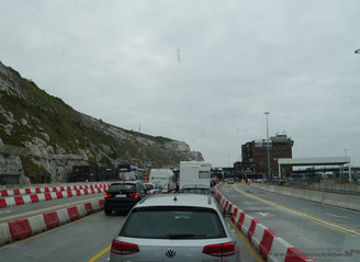 Schon fast auf dem Fährgelände von Dover angelangt