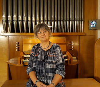 An der Orgel in der ev. Felsenkirchengemeinde Berlin Wittenau, September 2019