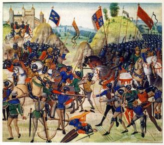 La bataille de Crécy en 1346 (BNF,Paris). Les chevaliers français subissent un lourde défaite face aux archers anglais.