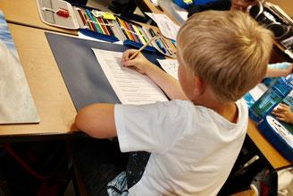 Schüler füllt Fragebogen aus