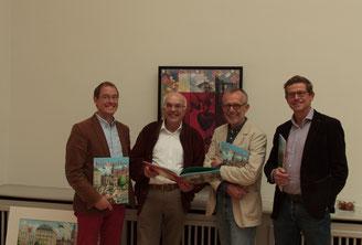 v. l.: Damian van Melis (Greven Verlag Köln), Michael Brockerhoff (Bürgerstiftung Gerricus), Christoph Baum (Illustrator und Autor), Hans Paffrath (Galerist)