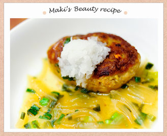 Maki's Beauty Recipi 『豆腐と野菜のヘルシーあんかけハンバーグ』