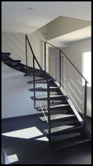 escalier métal rampant avec câble  quart tournant design L'atelier Carrotte
