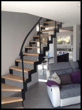escalier métal et bois, quart tournant, crémaillère, l'atelier Carrotte
