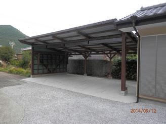 佐伯市、M氏邸、3台収容可能な車庫。