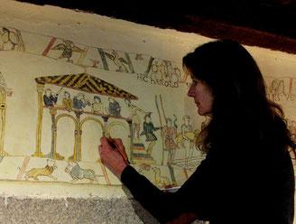 peinture murale salle de bains medievale Tour de Guet de Tennessus