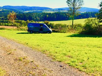 unser Stellplatz im Böhmerwald