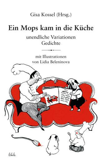 Mops und Koch auf rotem Sofa: Buchcover, gezeichnet von Lidia Beleninova, mit Versen u.a. von Laelia Kaderas