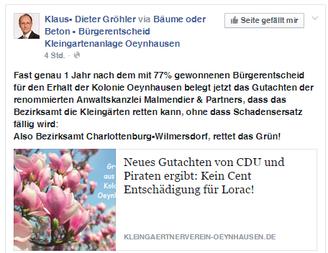 MdB Klaus Gröhler auf facebook