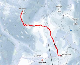 Route von der Postalm auf das Wieslerhorn