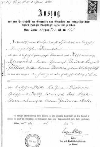 Alexander Faltin, Geburtsurkunde