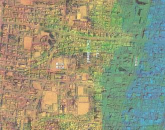 真田山近辺の高低差の図