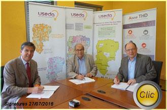 L'USEDA, ERDF et AISNE THD signent un partenariat pour favoriser le déploiement du Très Haut Débit dans l'Aisne.