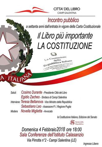 A settanta anni dall'entrata in vigore della Costituzione Italiana la Fondazione Città del Libro propone un incontro pubblico per discutere del libro più importante: La Costituzione. All'incontro prenderà parte Teresa Bellanova Vice Ministro della Repubbl