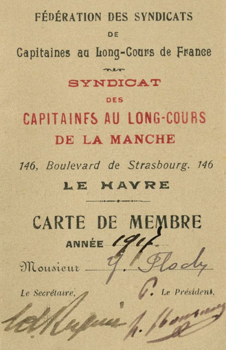 Yves Jacob Floch  sa carte de membre, du syndicat des capitaines au long-court de la manche en 1917