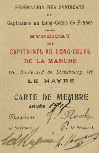 Yves Jacob Floch  sa carte de membre, du syndicat des capitaines au long-court de la manche en 1917