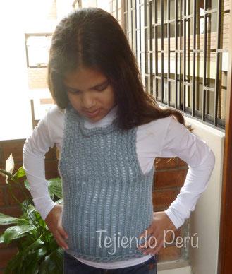 Pullover o chaleco tejido en telar redondo