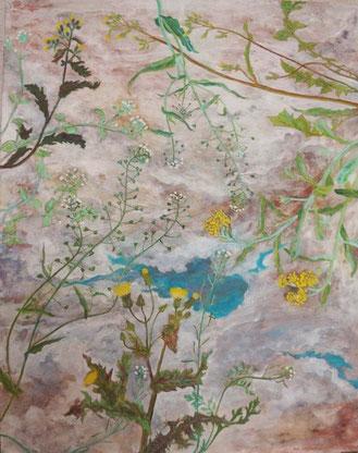ゆるやかな転移 Metamorphoses (Painting, Japanese paper, Silver leaf, Pigments, Glue)