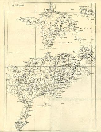 Historische Karte 2. Weltkrieg, Russland, Livland, Inseln Oesel, Dagoe, Moon, heute Estland, Inseln Saaremaa, Dagoe, Muhu, Baltikum