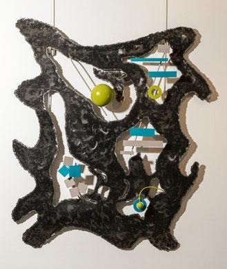 sculpture de mur en acier verni et peint vert et turquoise découpé à l'électrode