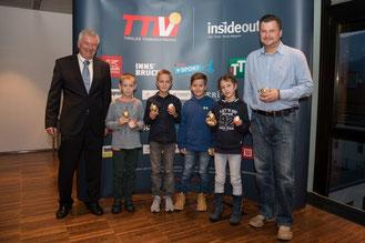 TTV-Präsident Seidenbusch, Paul Adamski, Lei Meier, Dominik Todoric, Sophie Laimer, Nenad Todoric