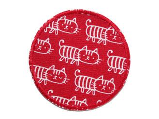 Bild: Katzen Hosenflicken für Kinder, Knieflicken zum aufbügeln rot