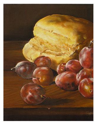 Stilleben ,Pflaumen und Brot, Pastellkreide 64x49 cm